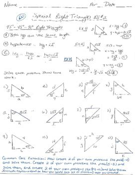 Special Right Triangles 45 45 90 Worksheet Answers