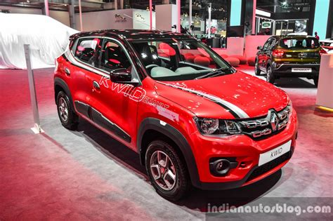 renault kwid red colour renault kwid with accessories auto expo 2016 live