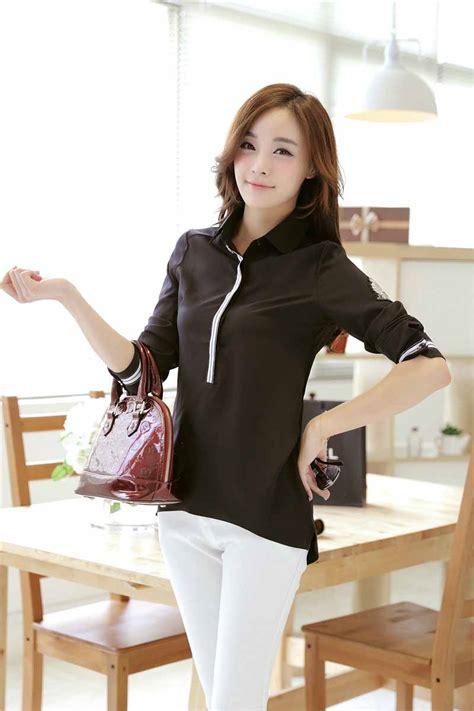 Black Blouse Fashion Import Atasan Baju Hitam Model Cardigan baju atasan hitam polos terbaru 2016 modis model terbaru jual murah import kerja