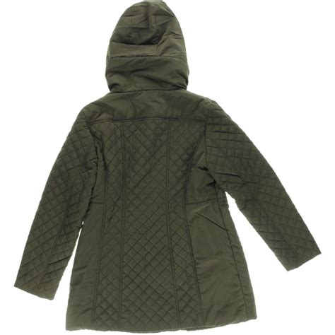 Hooded Quilted Coats Outerwear by Jones New York 9714 Womens Quilted Hooded Outerwear Coat