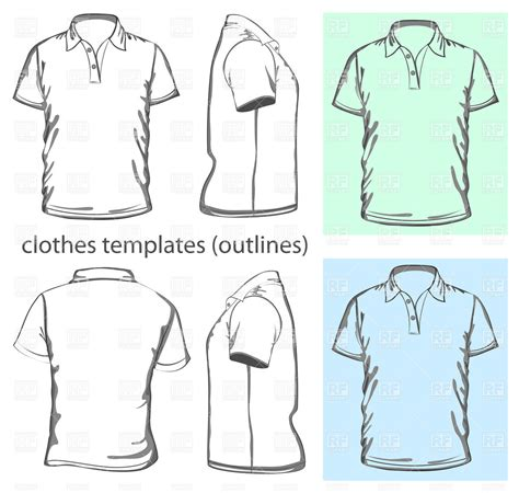 men s polo shirt design template outline royalty free