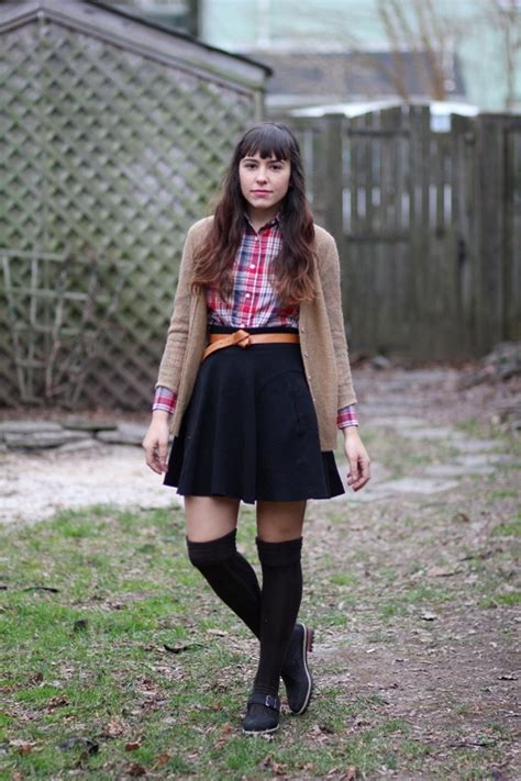 layers cardigan sweater tucked in plaid button