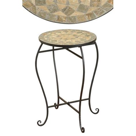 metal round accent table round metal accent table with mosaic stone inlay top 24 x