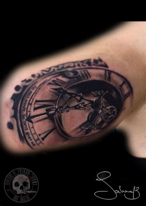 clock tattoo uhr tattoo by salvatore chindamo art aguja