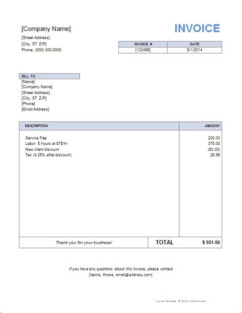 Microsoft Excel Invoice Templates by Invoice Template For Word Free Basic Invoice