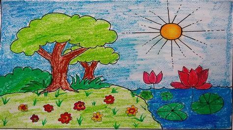 draw awesome garden scenery  kids kids scenery
