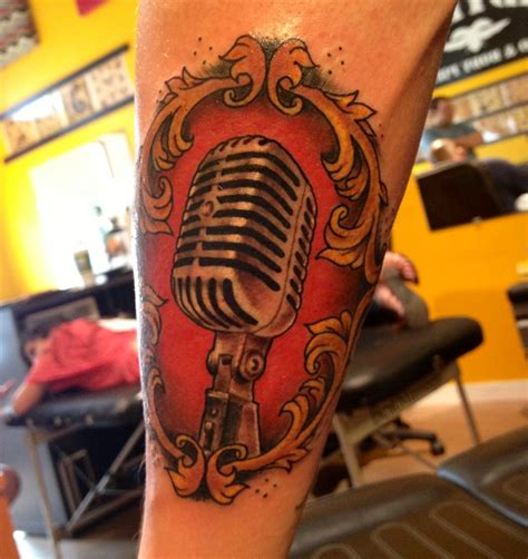 old school microphone tattoo designs artist harris ladybird in tx