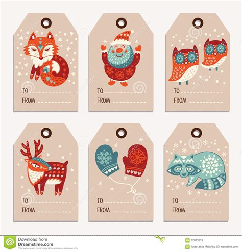 printable deer gift tags christmas and new year gift tags stickers labels stock