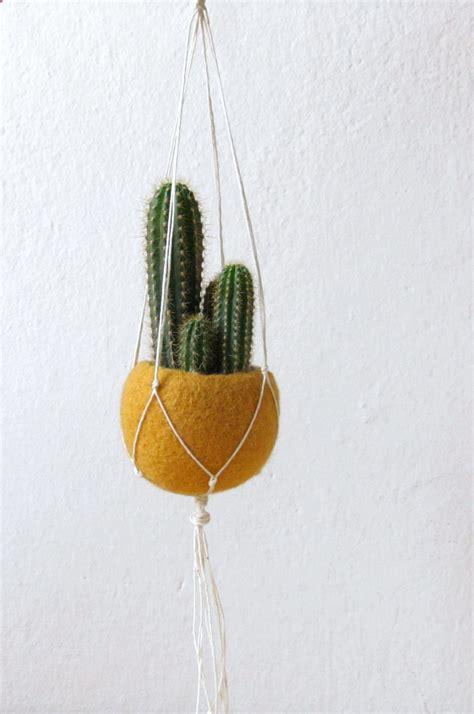 Hanging Macrame Planter - macrame planter hanging planter mustard felt planter