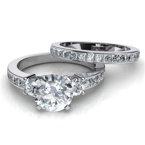 3 engagement ring wedding band bridal set