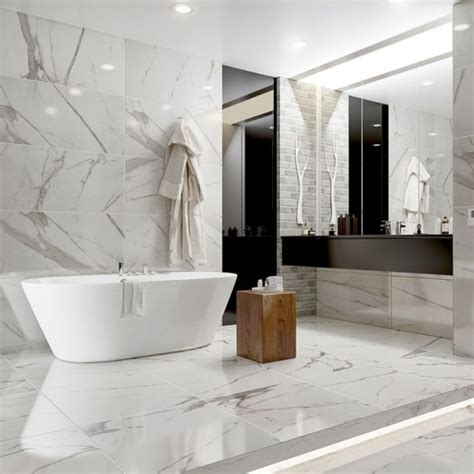 How To Clean White Bathroom Tiles by Beautiful White Marble Floor Tiles With High End Tub For