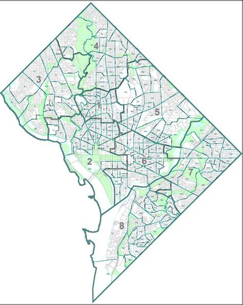 washington dc map of wards list of neighborhoods of the district of columbia by ward