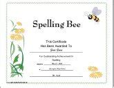 spelling bee participant certificates new calendar