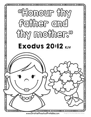 honor thy father and mother coloring page coloring pages