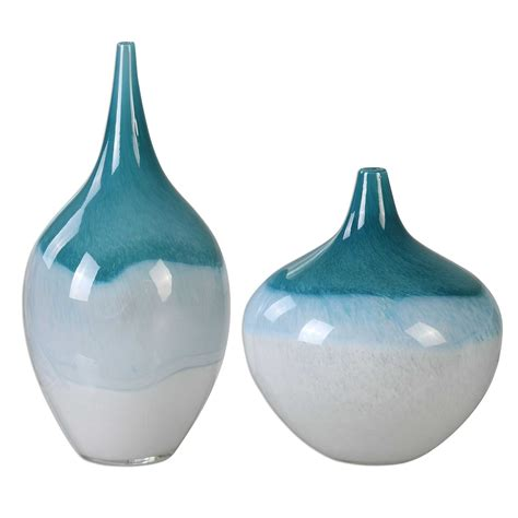 Teal Vases by Uttermost Carla Teal White Vases S 2