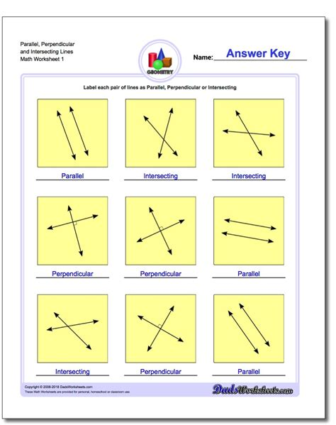 Intersecting Parallel And Perpendicular Lines Worksheet by Parallel Perpendicular Intersecting