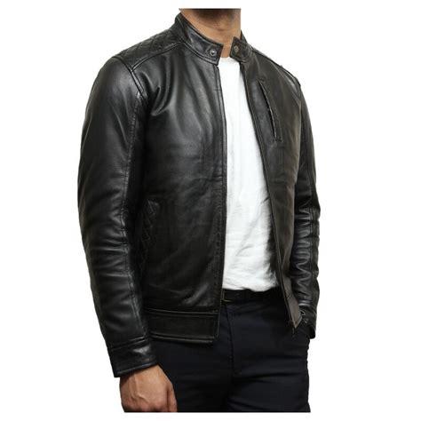 black leather biker jacket mens black leather biker jacket crinkle retro derek