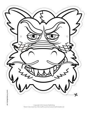 printable dragon mask template printable chinese dragon mask to color mask