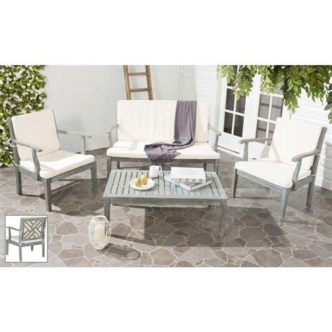 safavieh bradbury ash gray 4 piece patio seating set with