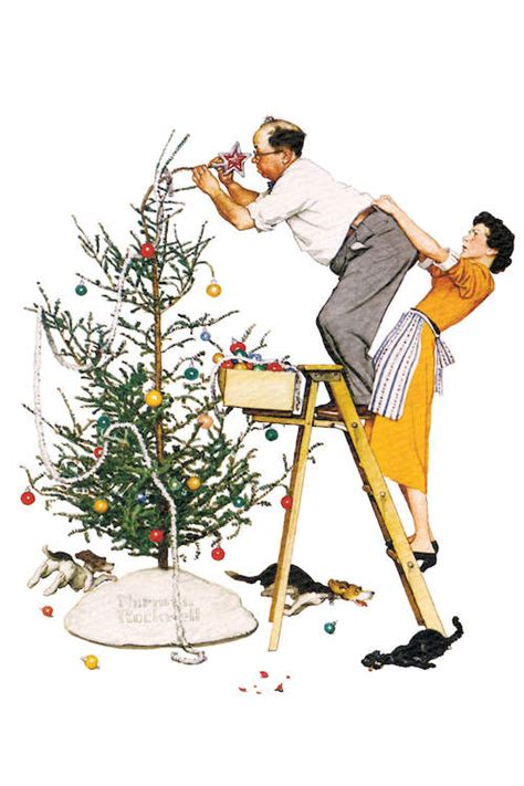 trimming the tree canvas wall art by norman rockwell icanvas