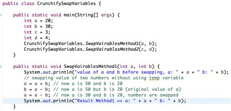 java pattern matcher variables java how to swap two members without using temp variable