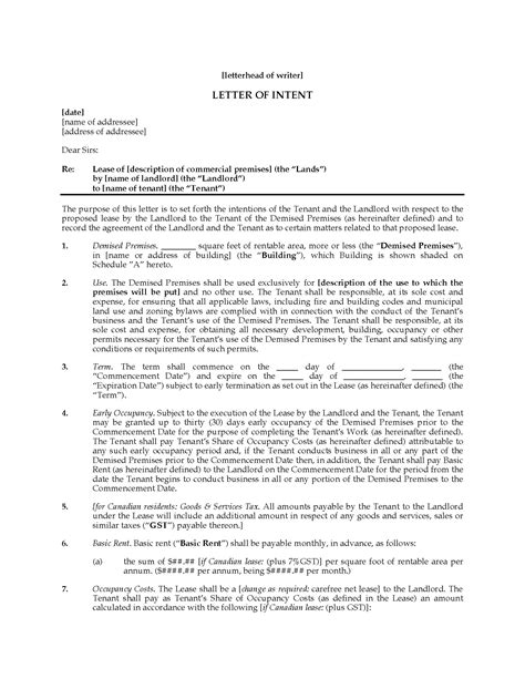 Letter Of Intent To Lease Commercial Space Template letter of intent to lease commercial space forms