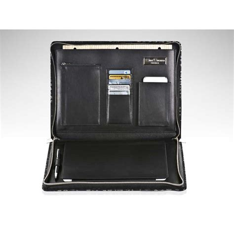 black mini crocodile leather travel desk portfolio paolo
