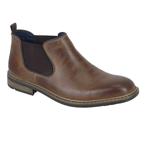 rieker mens low cut chelsea boot brown leather shoes gb