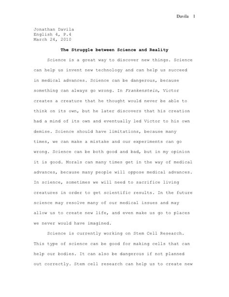 thesis statement for frankenstein science frankenstein essay