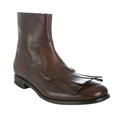 prada mens ankle boots prada brown leather fringe detail ankle boots in brown for