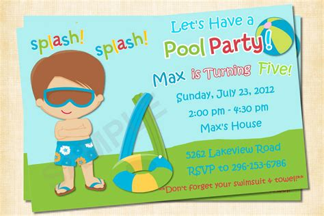how to make pool party invitations free printable pool party