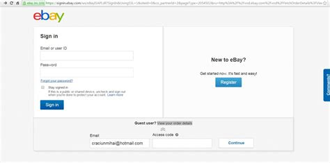 ebay guest login how do use my access code to view my order status the