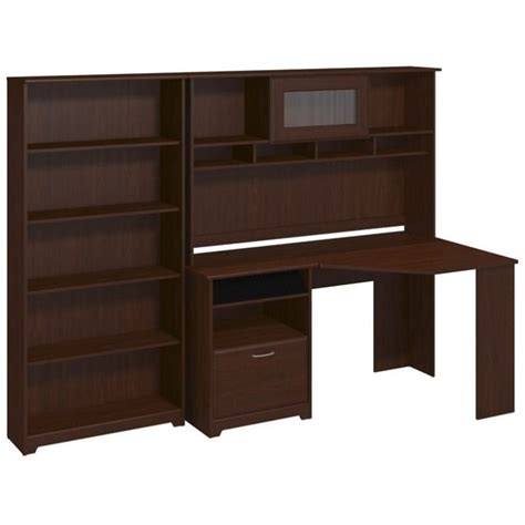 Cherry Corner Desk With Hutch Bush Cabot Corner Desk With Hutch And 5 Shelf Bookcase In Cherry Cab012hvc