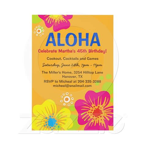 hawaiian luau birthday party invitation from zazzle com
