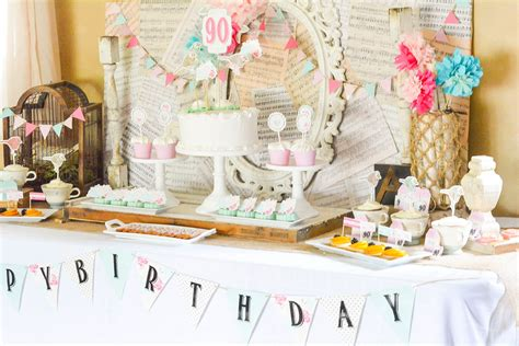 table decoration ideas for 90th birthday party a shabby chic vintage rose 90th birthday celebration