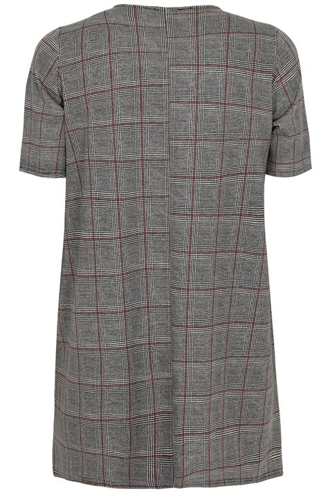 Check Value Of Visa Gift Card - black white red check ponte tunic dress with pockets plus size 16 to 36