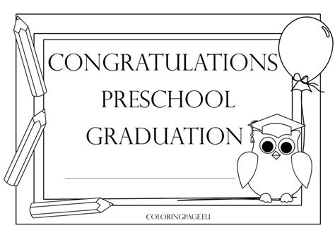 preschool graduation certificate 2 coloring page