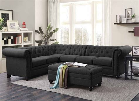 Grey Sectional Sofa by Roy Sectional Sofa 500292 In Grey Fabric By Coaster W Options