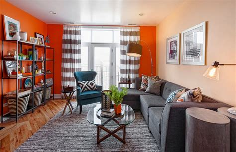 Grey Blue Orange Living Room by Fall Into Orange Living Room Accents For All Styles