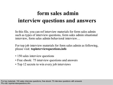 form sales admin questions and answers