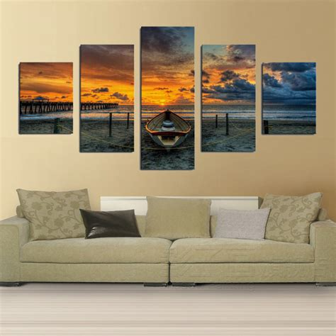 prints for living room wall wall designs wall sets print canvas painting unframed 5 large hd seaview boat