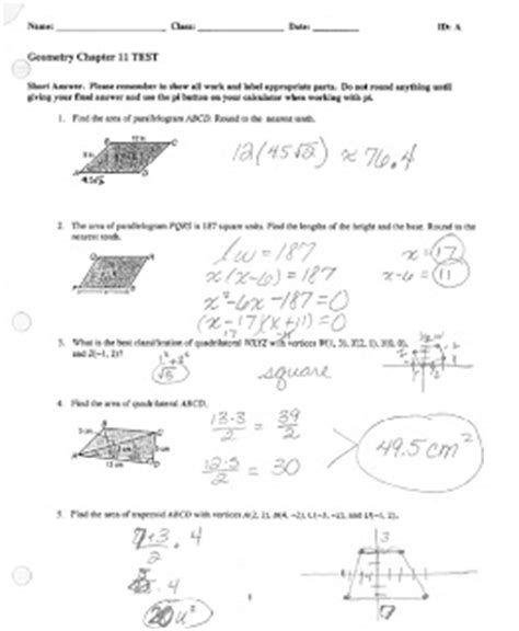 Math Classes Spring 2012 Geometry Chapter 11 Test 2
