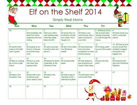 free printable elf on the shelf calendar 2014 elf on the shelf free printable