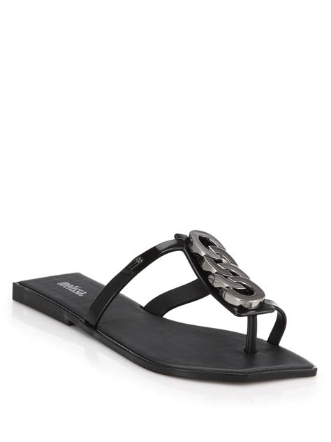 Wedges Motif Bunga Sdw 66 plastic chain trimmed sandals in black lyst