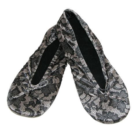 totes slippers womens womens satin lace detail ballerina slippers by totes