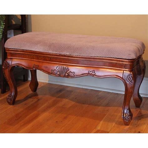 wood vanity bench vanity bench in dual walnut stain 3880