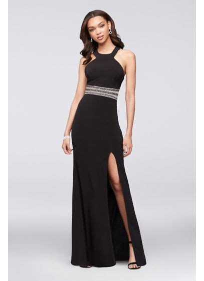 Two Terrible Black Dresses Two Different Places by Jersey Halter Gown With Beaded Illusion Waist David S Bridal