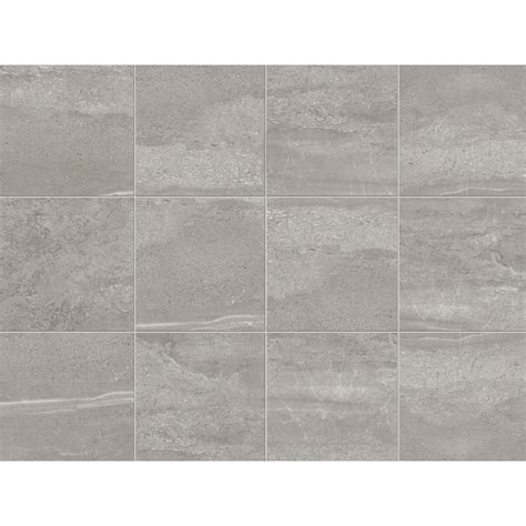 shop style selections skyros gray porcelain floor and wall tile common 12 in x 12 in actual