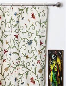crewel drapes techmal crewel curtain panels and drapes embroidered