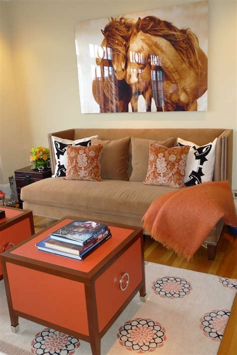 orange and brown home decor brown and orange living room contemporary living room